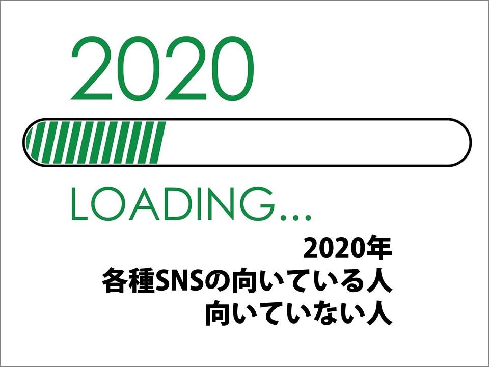 2020年 各種SNSの向いている人 向いていない人